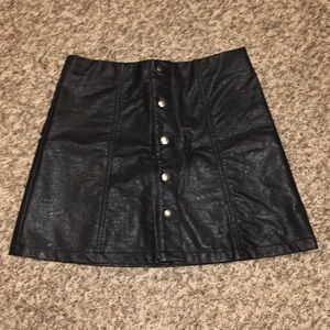 Black Button Up Faux Leather Skirt